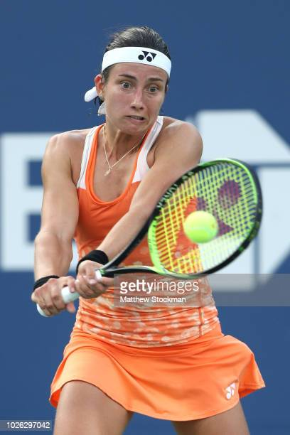 Anastasija Sevastova of Latvia returns the ball during her women's singles fourth round match against Elina Svitolina of Ukraine on Day Seven of the...