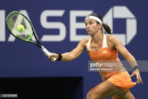 Anastasija Sevastova of Latvia returns the ball during her women's singles semifinal match against Serena Williams of the United States on Day Eleven...