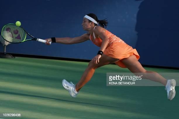 Anastasija Sevastova of Latvia returns the ball to ElinaSvitolina of Ukraine during their women's singles match on Day 7 of the 2018 US Open at the...