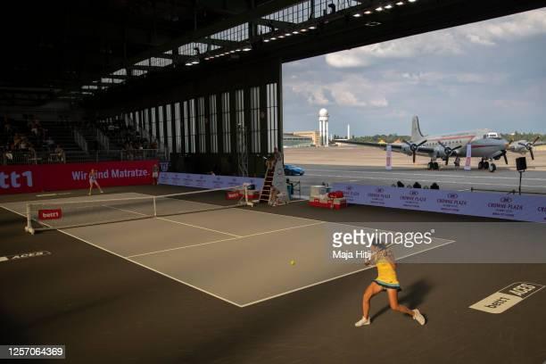 Anastasija Sevastova of Latvia returns the ball to Petra Kvitova of Czech Republic during a final of day 6 of the tennis tournament bett1ACES at...