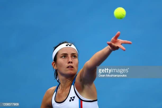 Anastasija Sevastova of Latvia serves against Anett Kontaveit of Estonia during Day 2 of the WTA Qatar Total Open 2020 at Khalifa International...