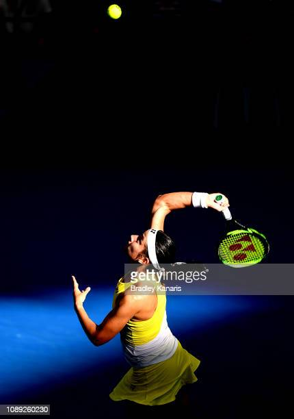 Anastasija Sevastova of Latvia serves in her match against Naomi Osaka of Japan during day five of the 2019 Brisbane International at Pat Rafter...
