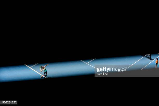 Anastasija Sevastova of Latvia serves in her second round match against Maria Sharapova of Russia on day four of the 2018 Australian Open at...