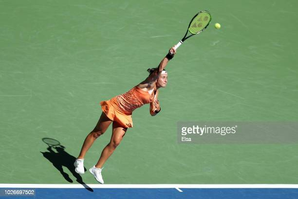 Anastasija Sevastova of Latvia serves the ball during the ladies singles quarterfinal match against Sloane Stephens of The United States on Day Nine...