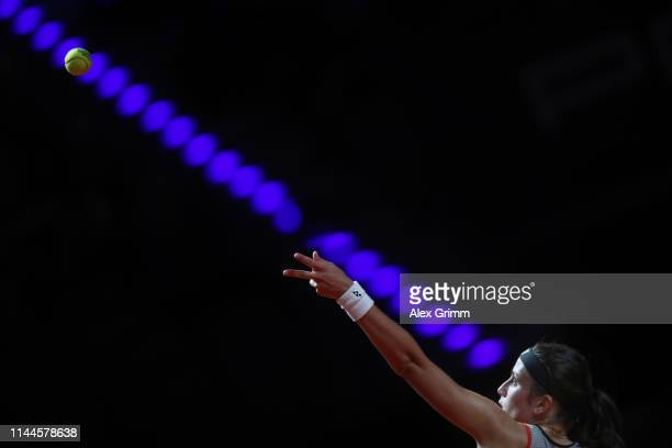 Anastasija Sevastova of Latvia serves the ball to Jelena Ostapenko of Latvia during their first round match on day 2 of the Porsche Tennis Grand Prix...