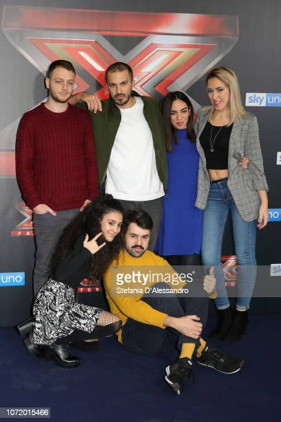Anastasio Luna Bowman and Naomi attend X Factor 2018 Photocall on December 12 2018 in Milan Italy