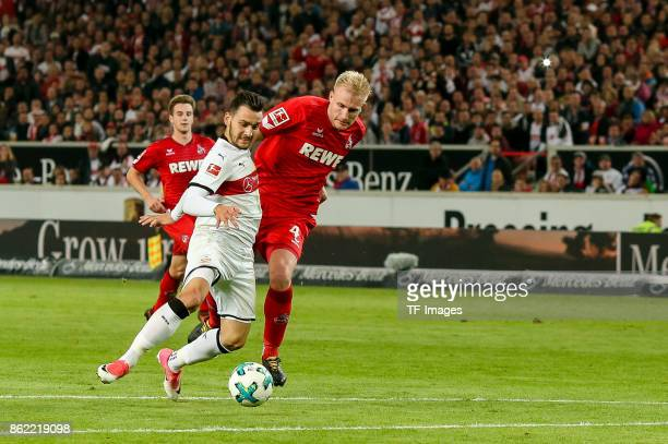 Anastasios Donis of Stuttgart and Frederik Hillesborg Sorensen battle for the ball during the Bundesliga match between VfB Stuttgart and 1 FC Koeln...