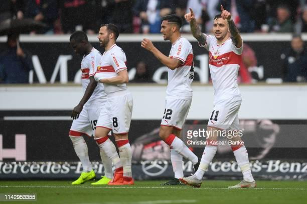Anastasios Donis of VfB Stuttgart celebrates after scoring his team's second goal during the Bundesliga match between VfB Stuttgart and VfL Wolfsburg...