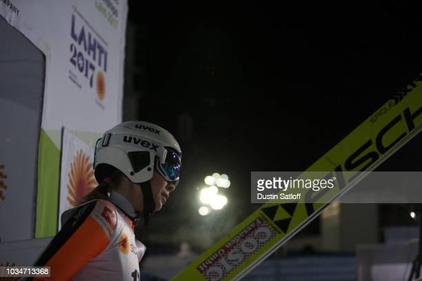 Anastasiya Barannikova of Russia leaves the finish area in the Women's Ski Jumping HS100 during the FIS Nordic World Ski Championships on February 24...