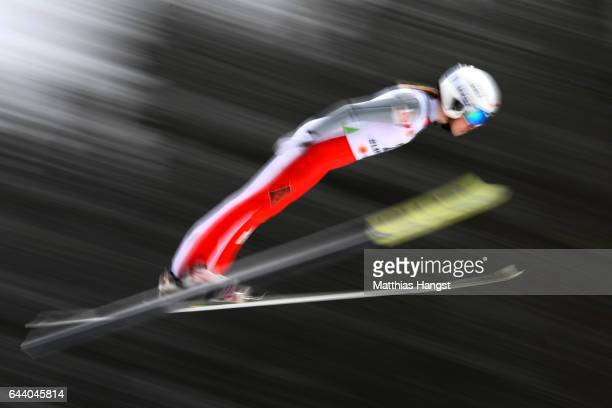 Anastasiya Barannikova of Russia makes a practice jump prior to the Women's Ski Jumping HS100 qualification rounds during the FIS Nordic World Ski...