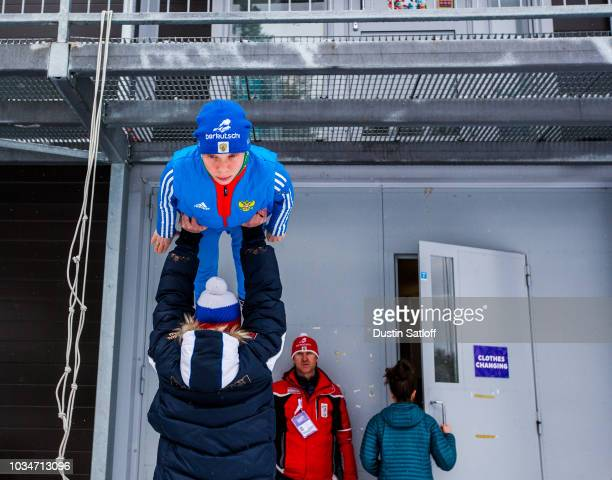 Anastasiya Barannikova of Russia prepares before the start of the Women's Ski Jumping HS100 qualification rounds during the FIS Nordic World Ski...