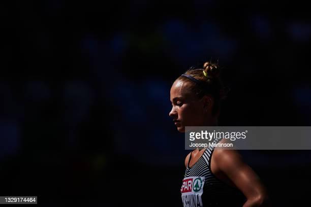 Anastasiya Kukushkina of ANA competes in the Women's Long Jump qualification during European Athletics U20 Championships Day 3 at Kadriorg Stadium on...