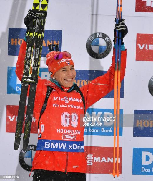 Anastasiya Kuzmina of Slovakia celebrates placing second at the podium during the women's 75 km sprint event at the IBU World Cup Biathlon in...