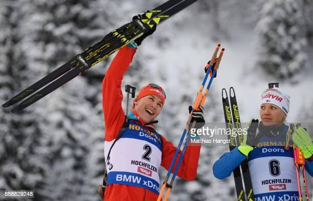 Anastasiya Kuzmina of Slovakia celebrates winning the 10 km Women's Pursuit during the BMW IBU World Cup Biathlon on December 0 2017 in Hochfilzen...