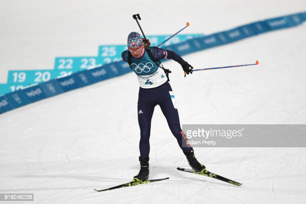 Anastasiya Kuzmina of Slovakia competes during the Women's 125km Mass Start Biathlon on day eight of the PyeongChang 2018 Winter Olympic Games at...