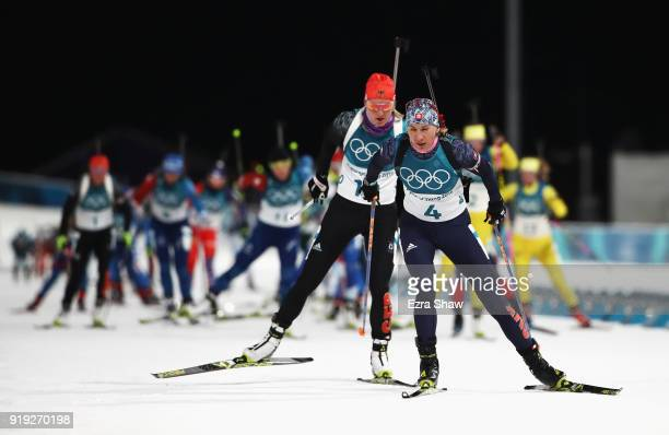 Anastasiya Kuzmina of Slovakia competes during the Women's 125km Mass Start Biathlon on day eight of the PyeongChang 2018 Winter Olympic Games at...