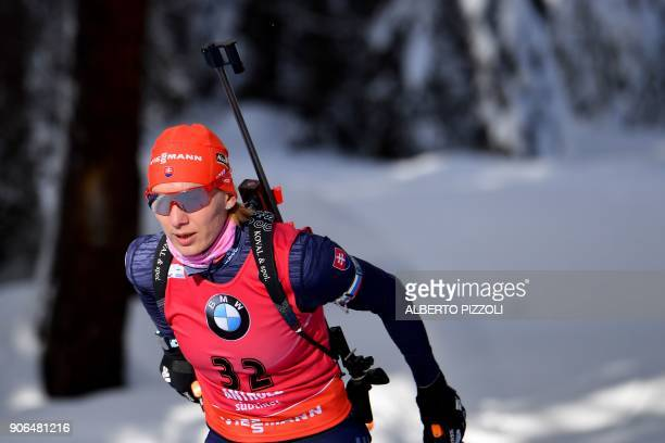 Anastasiya Kuzmina of Slovakia competes in the Women's 75km sprint competition of the IBU World Cup Biathlon in Anterselva on January 18 2018 Tiril...
