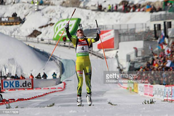 Anastasiya Kuzmina of Slovakia competes in the women's pursuit during the EON IBU Biathlon World Cup on March 19 2011 in Oslo Norway