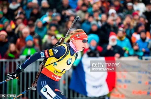 Anastasiya Kuzmina of Slovakia competes to win the women's 10 km pursuit event of the IBU Biathlon World Cup in Oberhof eastern Germany on January 6...