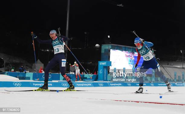 Anastasiya Kuzmina of Slovakia edges out Anais Bescond of France for the silver medal during the Women's Biathlon 10km Pursuit on day three of the...