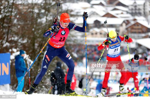 Anastasiya Kuzmina of Slovakia in action during the IBU Biathlon World Cup Women's Sprint on December 14 2017 in Le Grand Bornand France