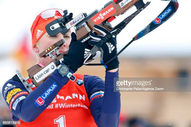 Anastasiya Kuzmina of Slovakia in action during the IBU Biathlon World Cup Men's and Women's Pursuit on December 16 2017 in Le Grand Bornand France