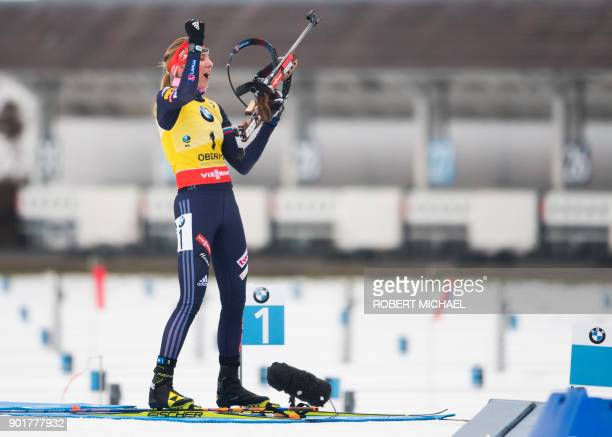 Anastasiya Kuzmina of Slovakia reacts after the last shooting during the women's 10 km pursuit event of the IBU Biathlon World Cup in Oberhof eastern...