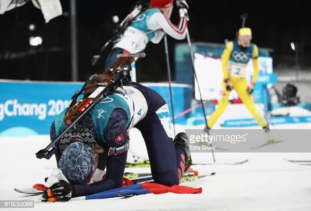 Anastasiya Kuzmina of Slovakia reacts as she wins gold during the Women's 125km Mass Start Biathlon on day eight of the PyeongChang 2018 Winter...