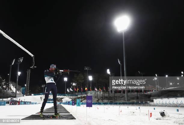 Anastasiya Kuzmina of Slovakia shoots during the Women's 125km Mass Start Biathlon on day eight of the PyeongChang 2018 Winter Olympic Games at...