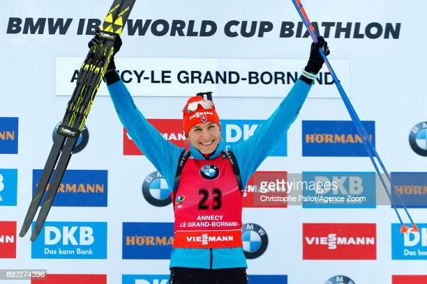 Anastasiya Kuzmina of Slovakia takes 1st place during the IBU Biathlon World Cup Women's Sprint on December 14 2017 in Le Grand Bornand France