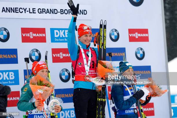 Anastasiya Kuzmina of Slovakia takes 1st place, Laura Dahlmeier of Germany takes 2nd place, Vita Semerenko of Ukraine takes 3rd place during the IBU...