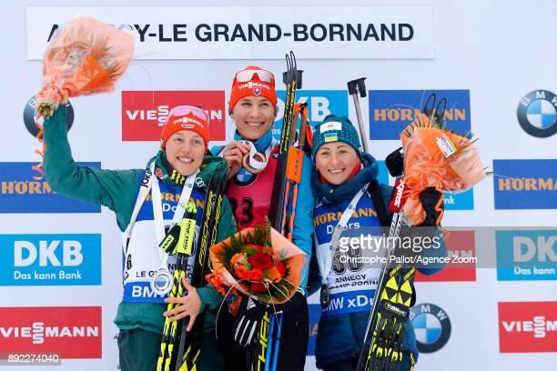 Anastasiya Kuzmina of Slovakia takes 1st place Laura Dahlmeier of Germany takes 2nd place Vita Semerenko of Ukraine takes 3rd place during the IBU...