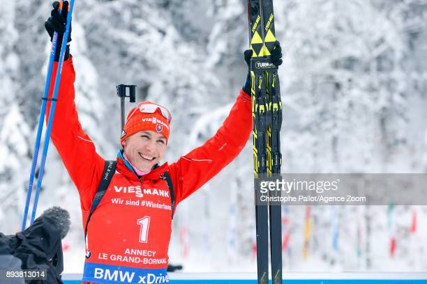 Anastasiya Kuzmina of Slovakia takes 2nd place during the IBU Biathlon World Cup Men's and Women's Pursuit on December 16 2017 in Le Grand Bornand...
