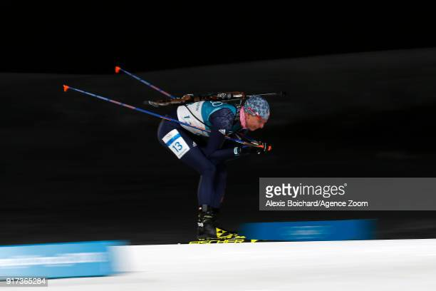 Anastasiya Kuzmina of Slovakia wins the silver medal during the Biathlon Men's and Women's Pursuit at Alpensia Biathlon Centre on February 12 2018 in...