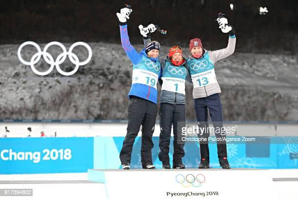 Anastasiya Kuzmina of Slovakia wins the silver medal Laura Dahlmeier of Germany wins the gold medal Anais Bescond of France wins the bronze medal...