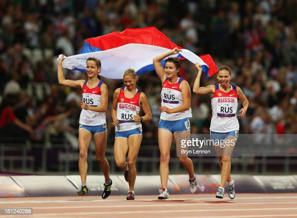 Anastasiya Ovsyannikova Svetlana Sergeeva Elena Ivanova and Margarita Goncharova of Russia win gold in the Women's 4x100m Relay T35/T38 on day 6 of...