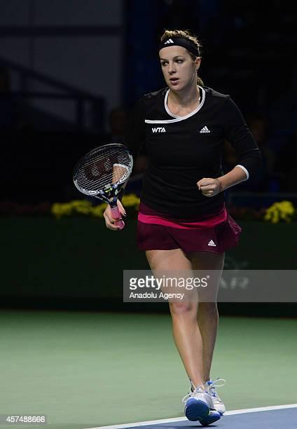 Anastasiya Pavlyucenkova of Russia runs after defeating Irina-Camelia Begu of Romania at the end of the Kremlin Cup 2014 International Tennis...