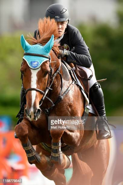 Anastasiya Prokopenko of Belarus competes during the women's riding show jumping on day two of the UIPM World Cup Modern Pentathlon test event for...