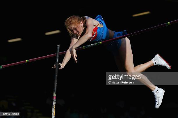 Anastasiya Sadovnikova of Russia competes in the women's pole vault final during day three of the IAAF World Junior Championships at Hayward Field on...