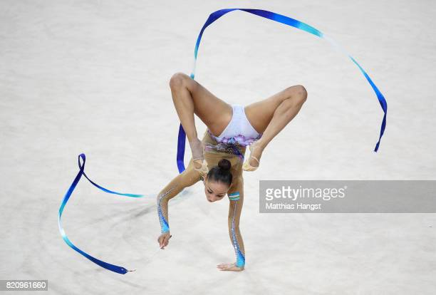Anastasiya Serdyukova of Uzbekistan competes during the Rhythmic Gymnastics Women's Individual Ribbon Qualification of The World Games at Centennial...