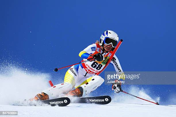 Anastasiya Skryabina of the Ukraine skis during the Women's Slalom event held on the Face de Bellevarde course on February 14 2009 in Val d'Isere...