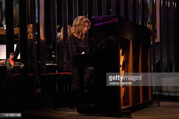 Anastasiya Titovych plays piano during the press event One Bellini with Rolando Villazon on the occasaion of the new staging of the Bellini opera I...