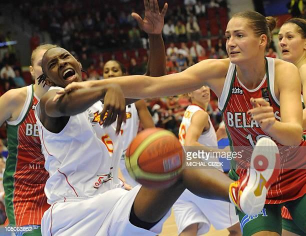Anastasiya Verameyenko of Belarus fights for a ball with Sancho Lyttle of Spain during the Women's World Championship basketball bronze medal match...