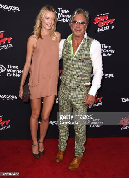 Anastassija Makarenko and Mickey Rourke arrives at the Sin City A Dame To Kill For Los Angeles Premiere at TCL Chinese Theatre on August 19 2014 in...