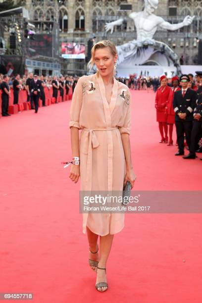 Anastassija Makarenko arrives for the Life Ball 2017 at City Hall on June 10 2017 in Vienna Austria