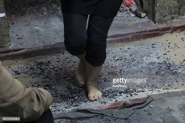 Anastenaria ritual is taking place in Agia Eleni village Greece in the Balkan area on 18 January 2018 It is actually barefoot walking on burning fire...