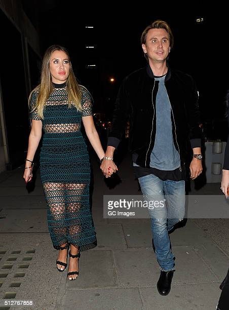 Anat Popovsky and Jonathan Cheban arrive at Tape night club hand in hand on February 27 2016 in London England