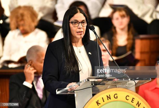 Anat SultanDadon Consul General of Israel of the Southeast speaks onstage during 2020 Martin Luther King Jr Commemorative Service at Ebenezer Baptist...