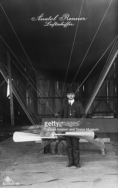 Anatol Renner codesigner and builder of the nonrigid airship Estaric poses with one of his ships and an engine part He and his brother Alexander...