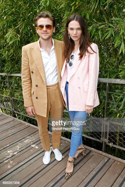 Anatole Maggiar and actress Anna Brewster attend the 2017 French Tennis Open Day Eleven at Roland Garros on June 7 2017 in Paris France